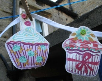 Fabric Cupcake Bunting with Flowery Backing