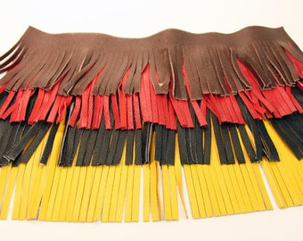"Fringe - Genuine Leather Trim 4""- Three 12"" lengths"