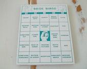 set of 15 Vintage Bride Bingo Cards Teal or Turquoise for altered art Wedding Decor 1970
