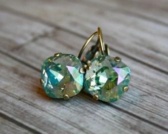 Celadon Green Swarovski Earrings, Rhinestone earrings, Green Swarovski earrings, Swarovski Crystal