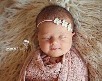 Petite Flower Headband...Newborn Headband...Petite Headband...Photography Prop...Mini Headband...Vintage Headband...Baby Headband