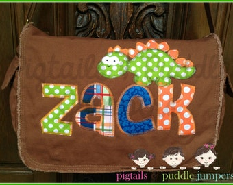 Dinosaur Applique Diaper Bag- Purple, Pink, and Brown Raw Edge Messenger Bag- Gender Neutral- Personalized Name and Owl Applique