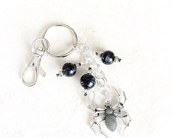 Womens Keychain - Halloween Keychain - Large Spider - Spider Charm - Purse Jewelry - Car Accessory