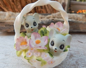 Josef Originals Mice in Basket  ~  Josef Originals Mice in Basket of Flowers  ~  Georgian Fine Bone China Mice in Basket of Flowers