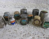 Vintage Thimbles Lot of 11, Metal Travel Thimble assortment, Sewing supplies, DIY jewelry supply, US state thimble collection, notions, SB13