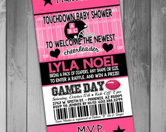 Girl Baby Shower Invitation Football Ticket Invitation Printable Baby Girl Pink Baby Shower Cheerleader Invitation Football Baby Shower