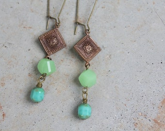 Oceanus Drop Earrings - Blue green beads, brass, earrings for women, long dangle earrings, ocean inspired, nature
