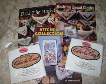 Charles Craft 14ct. Bread Cover Fabric Set of 2,  Leisure Arts Kitchen Collection Book, Mealtime Bread Cloths & Deck the Baskets Leaflets
