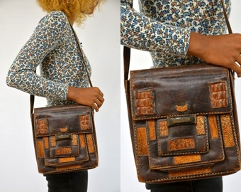 70s Guatemalan Patchwork Leather and Alligator Messenger Style Purse