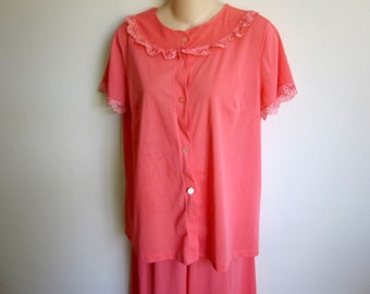 vintage nylon pajamas nightgown fancy lace coral melon S M