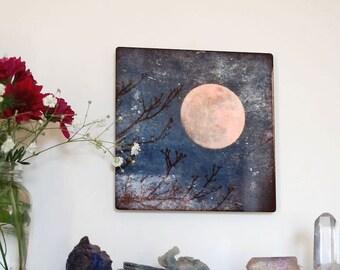 Reaching, Metal Panel, Moon Photograph on aluminum, Full Moon and tree branches photo, moon in blue sky, aluminium high gloss wall art,