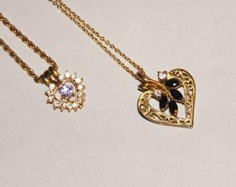 2 cute vintage heart necklaces