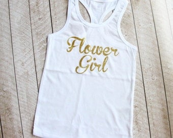 "Gold Glitter ""Flower Girl"" Tank Top in White - Available in Little Girl Sizes - Flower Girl - Wedding - Flower Girl Gift - by Couture Flower"
