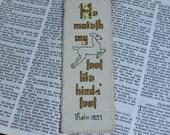 Psalms 18:33 Feet Like Hind's Feet Bible Verse Cross Stitch Bookmark Handmade