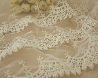 Ivory Lace Fabric Trim, Vintage Lace Trim, Luxury Lace Trim ,Ivory Lace Veil and Dress