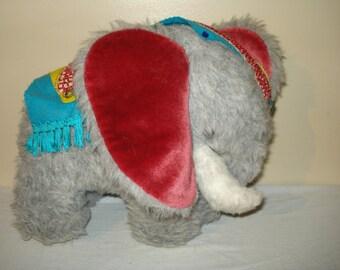 Vintage 1970's Home Made Plush Elephant Soft Toy