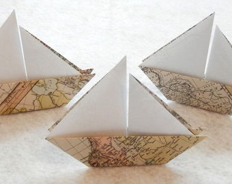 Origami Sail Boats - 50 Origami World Map Paper Sail Boats. Escort Card. Place Card.