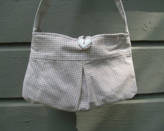 Brown and White Checkered Girls Purse