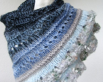 blue, navy and beige, wool and mohair knit shawl, triangular wrap, soft fluffy openwork shawl OOAK