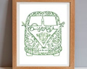 Personalised Wedding Painting, Custom Mr and Mrs VW Campervan, Anniversary Gift, Custom Valentines Gift