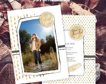 Graduation Announcements Templates - Graduation Card Templates - Senior Graduation Templates - Photography Photoshop Templates GRAD101