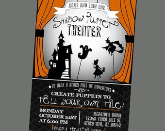 Shadow Puppet Halloween Party Invitation