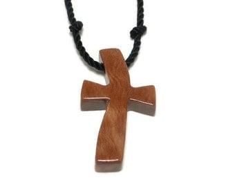 Cross Necklace Men, Mens Jewelry Cross, Wood Cross Pendant, Mens Cross Pendant Necklace, Minimalist Cross Necklace - Californian Eucalyptus