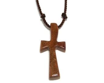 Cross Pendant, Handmade Men's Cross Necklace in Camphor Burl & Maple Woods, Gifts Under 20