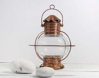 Lantern Copper  Vintage Beach Decor  Nautical Restored by SEASTYLE