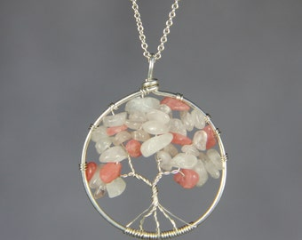 Sterling silver pink stone tree of life pendant necklace bridesmaids gifts Free US Shipping handmade Anni Designs