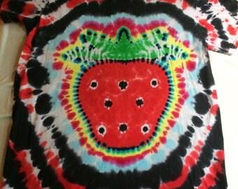 Adult Medium Strawberry Love Tie Dye Tee Shirt