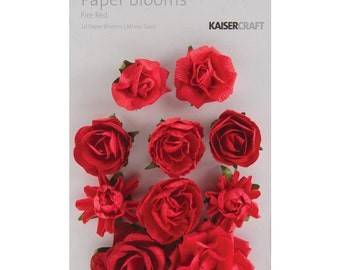Paper Blooms flowers by Kaisercraft - Set of 10 - Fire Red -  Embellishment