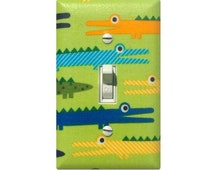 Alligator Light Switch Plate Cover / Baby Boy Safari Nursery Decor / Yellow Orange Royal Blue Lime Green Crocodile / Robert Kaufman