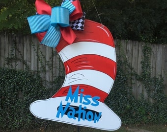 Teacher Door Hanger, Dr. Seuss Door Hanger, Cat in the Hat Door Hanger, Child's Nursery Wall Decor, Teacher's Classroom, Teacher Gifts