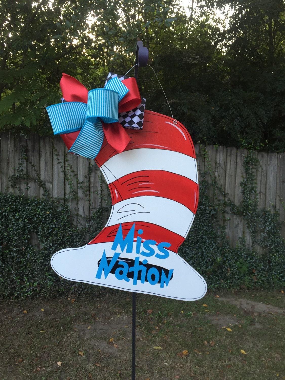 Cat in the hat ornaments - Cat In The Hat Door Hanger Dr Seuss Door Hanger Child S Nursery Wall