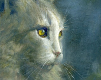 Cat Portrait, 14x18 Pet Portrait, Custom Cat Painting - oil painting on stretched canvas, from your photo,