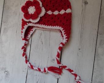 Baby Girl Hat, Girl Earflap Hat, Newborn Crochet Hat,
