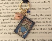 "Alice in Wonderland White Rabbit Book Charm Pendant necklace ""Tea Party"""
