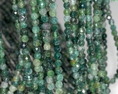 4mm Botanical Moss Agate Gemstone Green Faceted Round Loose Beads 15.5 inch Full Strand (90184135-356)