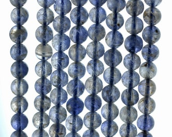 5mm Bermudan Blue Iolite Gemstone Grade AAA Round Loose Beads 16 inch Full Strand (90186113-832)