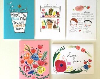 Set of 5 Greeting Card