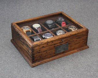 Watch Box, Men's Watch Box, Watch Box for Men, Wood Watch Box, Gift, Custom Watch Box for 8 watches with Glass Top and secret compartment