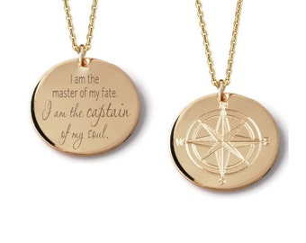 Compass Rose custom engraved layering pendant necklace in various diameters • 14k yellow gold fill • Personalized traveler charm Wanderlust