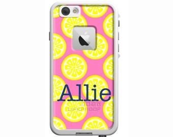 Lemonade Monogrammed LifeProof Fre or Nuud iPhone 6 Plus, iPhone 6, iPhone 5/5s, iPhone 5c Personalized Phone Case
