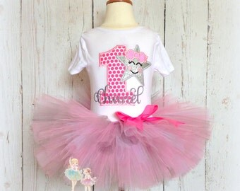 First Birthday Outfit - Silver Star Birthday Outfit - Birthday tutu set - 1st Birthday - Silver and pink tutu - girls birthday outfit