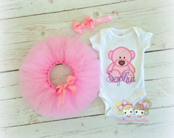 Teddy bear tutu outfit - pink teddy bear tutu - girls coming home outfit - teddy bear birthday tutu - newborn outfit - baby girl outfit