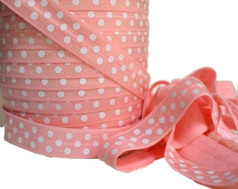 "Light Pink Polka Dot Fold Over Elastic, 5/8"". Polka Dot FOE.  5 Yards. PFOE-3003"