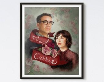 Fred & Carrie - Portlandia Art - Vintage Inspired Portrait - Portlandia Print - Fred Armisen - Carrie Brownstein - Floral Portrait