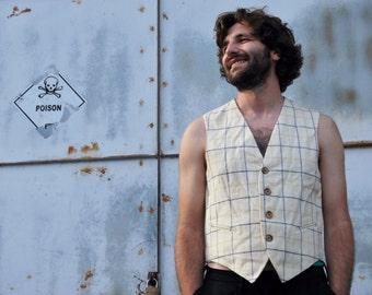 Vintage Wool Hugo Boss Mens Vest Grid Print Waistcoat Medium