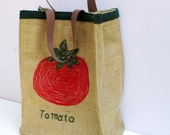 Large burlap handmade  shoppers  tote with genuine leather straps,hand embroidered with a large tomato,one of a kind
